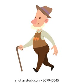 Vector cartoon image of a funny old man with gray beard in brown hat, brown pants and vest walking somewhere with cane in hand and smiling on a white background. Retired, elderly. Vector illustration.