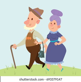 Vector cartoon image of a funny old man with gray beard in brown hat with cane in hand and funny old woman with purple hair walking somewhere and smiling on a nature background. Retired, elderly.