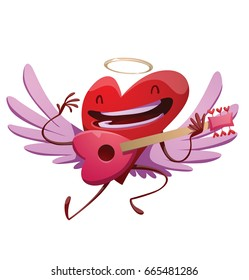 Vector cartoon image of a funny red heart with lilac wings and a golden halo, playing on a pink guitar and smiling on a white background. St. Valentine's Day, love. Vector illustration.
