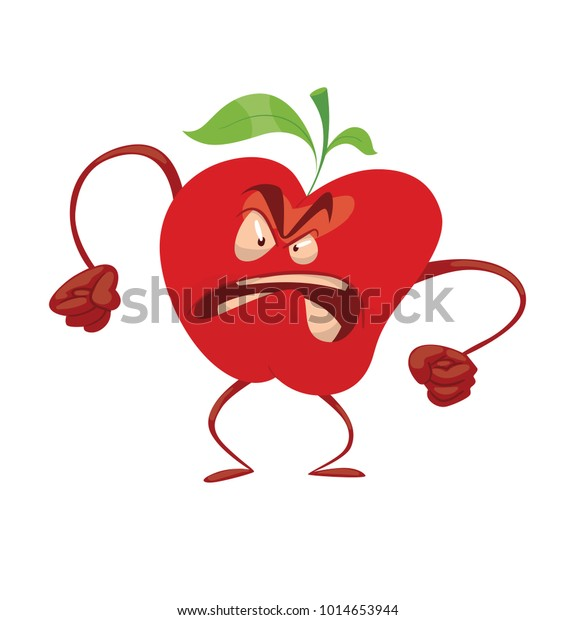 Vector Cartoon Image Funny Red Apple Stock Vector (Royalty