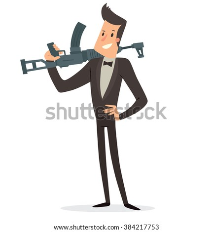 1ec8b0038 Vector cartoon image of a funny super agent with black hair in a black  tuxedo,