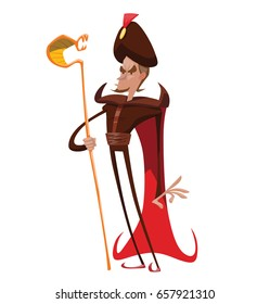 Vector cartoon image of a funny thin evil king with brown hair in a red cloak with a brown turban on his head and with a gold staff, in the form of a snake, in his hand, standing on a white background