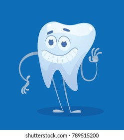 Vector cartoon image of a funny white tooth standing, waving his hand and smiling on a blue background. Dentistry, health, teeth. Vector illustration.