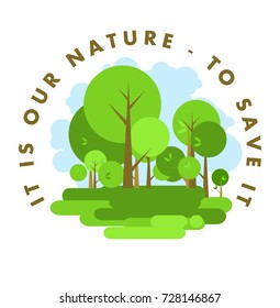Vector cartoon image green trees environment nature emblem on a white background