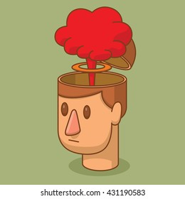 Vector cartoon image of the head of a man with brown hair and with an open braincase from which appears a red cloud of a nuclear explosion on a green background. Blow your mind. Vector illustration.