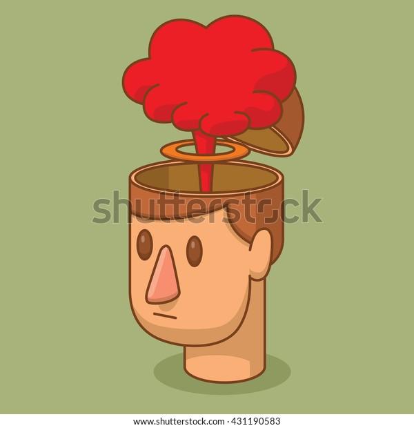 Векторное мультяшное изображение головы мужчины с каштановыми волосами и с открытым мозговым корпусом, из которого на зеленом фоне появляется красное облако ядерного взрыва. Удар свой разум. Векторная иллюстрация.