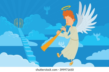 Vector cartoon image of a male angel on a background of heaven. Angel with orange curly hair in a white chasuble. Blue background with clouds, angels, stairs and gates. Angel with a halo over his head