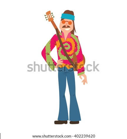 Vector Cartoon Image Man Hippie Man Vector de stock (libre de ...