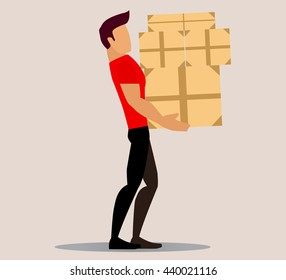Vector cartoon image of a porter man with bright brown hair. Man in blue overalls and cap. Porter man is carrying a large rectangular yellow box in his hands. Cartoon loader man. Vector illustration.