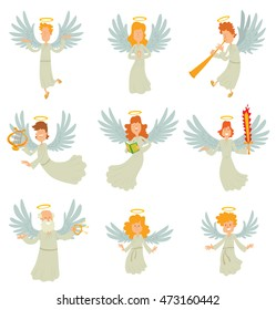 Vector cartoon image of a set of different angels with big white wings and golden halos over their heads in white chasubles, in various poses on a white background. Vector illustration of angels.
