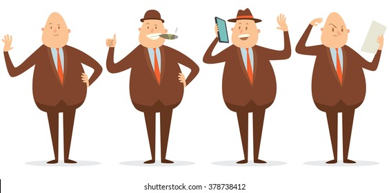 Vector cartoon image of a set of a fat bald businessman in a brown suit, hat in different poses, smiling, talking on a smartphone, with a cigar in his mouth on a white background. Vector illustration.