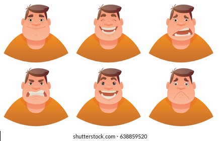 Vector cartoon image of a set of fat men with brown hair expressing various facial emotions: joy, happiness, bewilderment, anger, delight and sadness on a white background. Emotion, face, avatar.
