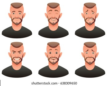 Vector cartoon image of a set of men with brown hair and beard expressing various facial emotions: joy, happiness, bewilderment, anger, delight and sadness on a white background. Emotion, face, avatar
