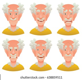 Vector cartoon image of a set of old men with gray hair expressing various facial emotions: joy, happiness, bewilderment, anger, delight and sadness on a white background. Emotion, face, avatar.