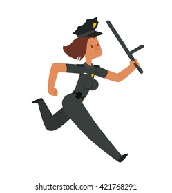 Vector cartoon image of a woman police officer with brown hair in a black police uniform, a black cap with a baton in her hand running on a white background. Vector illustration of police.