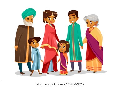 Vector cartoon Indian family characters set. Happy hindu senior man, woman, parents father and mother, teen boy, girl children together holding hands. People in national clothing sari headdress turban