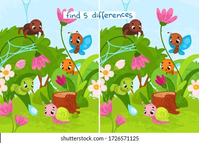 Vector cartoon insects. Vector illustrations for children books. Find 5 differences. Educational game for children.