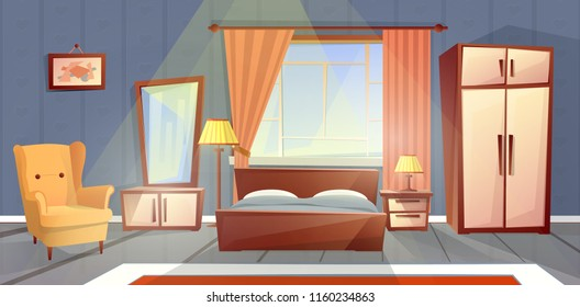 Vector cartoon interior of cozy bedroom with window. Living apartment with furniture - double bed, dresser and carpet. Colorful background of house inside