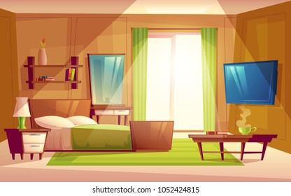 Vector cartoon interior of cozy modern bedroom, living room with double bed, TV set, dresser, bookshelf, carpet, house inside. Colorful background, apartment concept with furniture