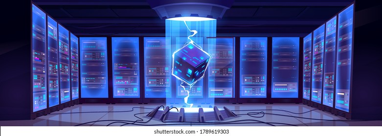 Vector cartoon interior of future data center room with server hardware and hologram of processor. Concept of bigdata technology, cloud information base, artificial intelligence