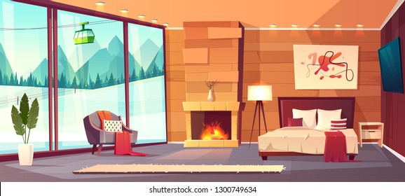 Vector cartoon interior of luxury hotel bedroom with furniture - double bed, carpet and fireplace. Living apartment of winter resort with window - snowy mountains outside. Colorful background.