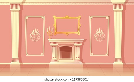 Vector cartoon interior of luxury living room, ballroom with fireplace. Traditional furnace in sumptuous hallway in pink colors with white pilasters. Architecture illustration baroque or rococo style