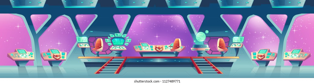 Vector cartoon interior of spaceship with control panels, virtual screens. Compartment for crew with chairs for pilots, large porthole with view of outer space. Concept background for game design