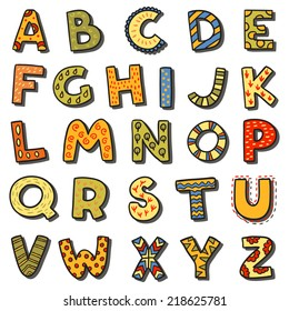 Vector cartoon isolated alphabet sticker set. Alphabet can be used for scrap booking, posters, school projects.