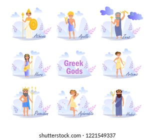 Vector. Cartoon. Isolated art on white background. Flat Greek gods. Artemis, Poseidon, Aphrodite, Hades, Hera, Apollo, Zeus, Athena.