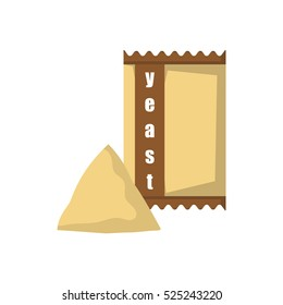 Vector cartoon isolated dry yeast in bag. Baking ingredient icon. Isolated bread rising ingredient on white background