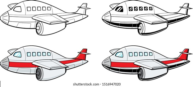 vector cartoon of an isolated jet liner aircraft in side view rendered in four different versions in color and black and white