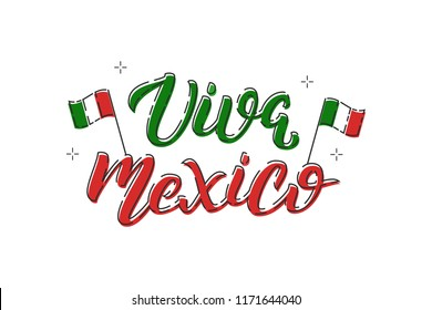 Vector cartoon isolated typography logo for Viva Mexico with thin line art design for decoration and covering on the white background. Concept of Happy Independence Day in Mexico.