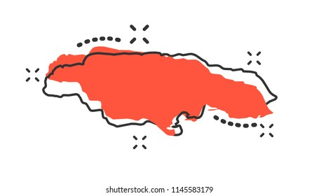 Vector cartoon Jamaica map icon in comic style. Jamaica sign illustration pictogram. Cartography map business splash effect concept.