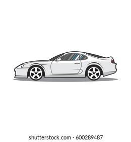 Vector cartoon japan sport car. Side view