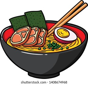 Vector Cartoon Japanese Ramen On A Bowl