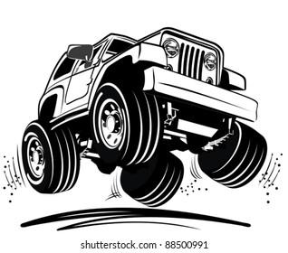Vector cartoon jeep