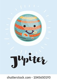 Vector cartoon Jupiter with vector character with smiling funny face on isolated background, Solar system. Hand drawn lettering name. Gas giant