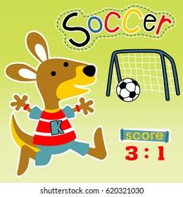 vector cartoon of kangaroo the funny soccer player
