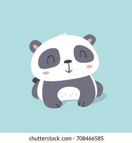 vector cartoon kawaii style cute little panda illustration