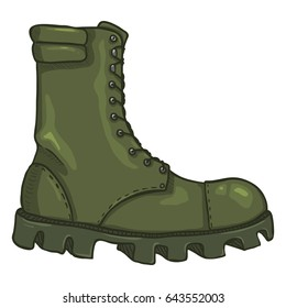 Vector Cartoon Khaki Army Boots. High Military Shoes. Side View