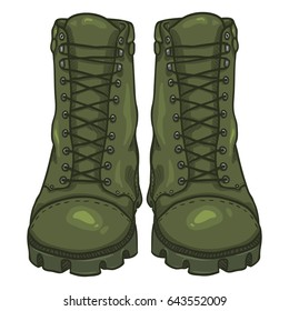Vector Cartoon Khaki Army Boots. High Military Shoes. Front View.