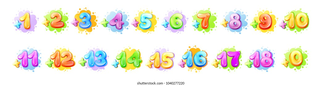 Vector cartoon kids age limit sign set. Children restriction stamps, adhesive stickers movie, game app content. Isolated illustration with from add zero one two three to plus eighteen colored symbols