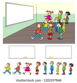 Vector cartoon kids classroom