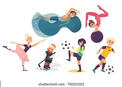 vector cartoon kids doing sports set isolated. Girl playing football, another doing stretching gymnastics exercise with ball, ballerina dancing, boys swimming in pool, playing ice hockey and football.
