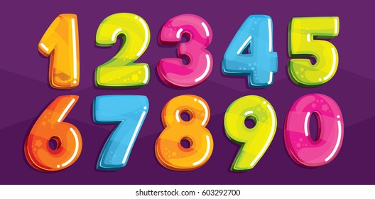Vector cartoon kids figures. Set of color numbers