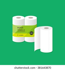 vector cartoon kitchen paper towel / package, wrapping design / flat style, icon template / green on white