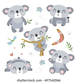 vector cartoon koala set