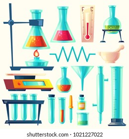 Vector cartoon laboratory equipment, glassware set. Chemical, biological pharmaceutical science lab research, analysis, experiment tools. Isolated illustration with flasks, test tube, beaker, burner.
