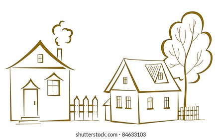 Vector cartoon, landscape: two houses with a tree, monochrome symbolical pictogram