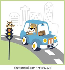 vector cartoon of leo on car with owl on traffic light
